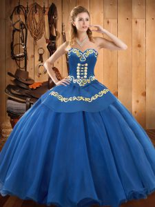 Lovely Floor Length Blue Sweet 16 Quinceanera Dress Tulle Sleeveless Ruffles