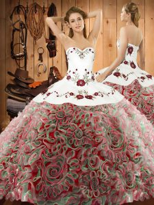 Artistic Multi-color Lace Up Quinceanera Dress Embroidery Sleeveless Sweep Train