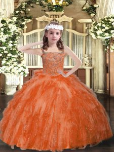 Straps Sleeveless Organza Pageant Dress Toddler Beading and Ruffles Lace Up