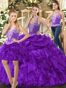 Noble Purple Three Pieces Straps Sleeveless Organza Floor Length Lace Up Beading and Ruffles Vestidos de Quinceanera