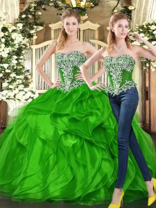 Spectacular Green Sleeveless Floor Length Beading and Ruffles Lace Up 15th Birthday Dress