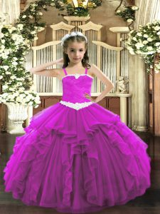 Eye-catching Fuchsia Ball Gowns Appliques and Ruffles Little Girl Pageant Gowns Lace Up Tulle Sleeveless Floor Length