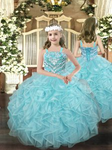 Classical Straps Sleeveless Lace Up Little Girl Pageant Gowns Light Blue Organza