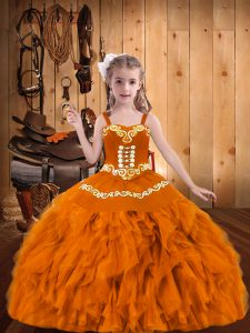 Classical Sleeveless Lace Up Floor Length Embroidery and Ruffles Glitz Pageant Dress
