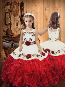Red Sleeveless Embroidery and Ruffles Floor Length Child Pageant Dress
