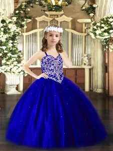 Trendy Royal Blue Ball Gowns Beading Little Girl Pageant Gowns Lace Up Tulle Sleeveless Floor Length