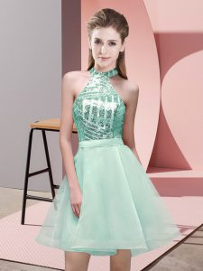 Mini Length Apple Green Court Dresses for Sweet 16 Chiffon Sleeveless Sequins