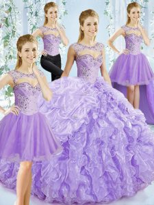 Lavender Sweet 16 Dresses Sweetheart Sleeveless Brush Train Lace Up