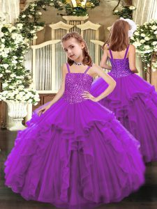 Best Floor Length Ball Gowns Sleeveless Purple Little Girl Pageant Gowns Lace Up