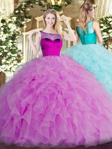 Colorful Organza Scoop Sleeveless Zipper Beading and Ruffles Quinceanera Gowns in Lilac