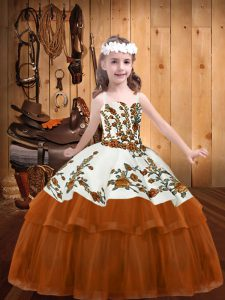 Floor Length Ball Gowns Sleeveless Rust Red Little Girls Pageant Dress Wholesale Lace Up