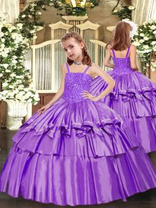 Sleeveless Beading and Ruffled Layers Lace Up Pageant Dress Toddler