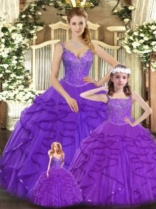 Suitable Sleeveless Floor Length Beading and Ruffles Lace Up Sweet 16 Dress with Purple