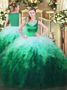 Perfect Floor Length Multi-color 15 Quinceanera Dress Tulle Sleeveless Beading and Ruffles