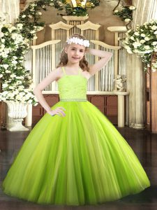 Perfect Yellow Green Zipper Straps Beading and Lace Pageant Dress Tulle Sleeveless