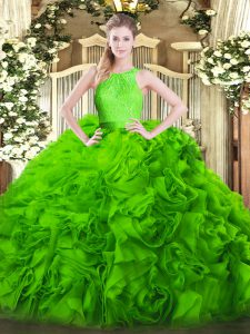 Free and Easy Sleeveless Fabric With Rolling Flowers Floor Length Zipper Vestidos de Quinceanera in with Lace