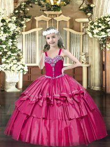 Floor Length Hot Pink Pageant Gowns For Girls Organza Sleeveless Beading and Ruffled Layers