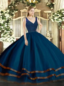 Navy Blue Ball Gowns Organza V-neck Sleeveless Beading and Lace and Ruffled Layers Floor Length Backless Sweet 16 Quinceanera Dress