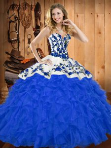 Floor Length Blue Vestidos de Quinceanera Sweetheart Sleeveless Lace Up
