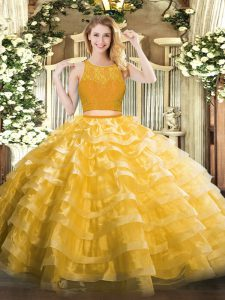 Floor Length Gold Vestidos de Quinceanera Scoop Sleeveless Zipper