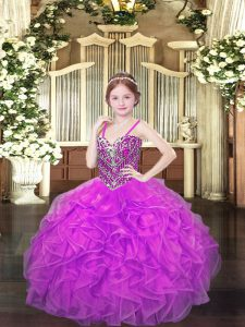 Perfect Sleeveless Beading and Ruffles Lace Up Little Girls Pageant Gowns
