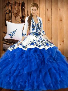 Blue Ball Gowns Ruffles Vestidos de Quinceanera Lace Up Satin and Organza Sleeveless Floor Length