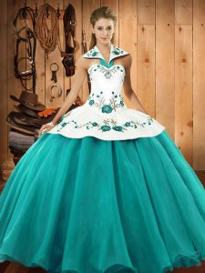 Turquoise Ball Gowns Embroidery Quince Ball Gowns Lace Up Satin and Tulle Sleeveless Floor Length