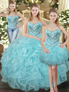 Aqua Blue Quince Ball Gowns Military Ball and Sweet 16 and Quinceanera with Beading and Ruffles Sweetheart Sleeveless Lace Up