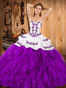 Most Popular Floor Length Lace Up 15th Birthday Dress Eggplant Purple for Military Ball and Sweet 16 and Quinceanera with Embroidery and Ruffles
