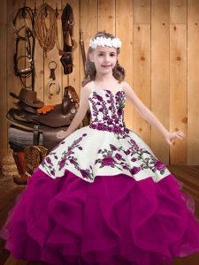 Top Selling Fuchsia Lace Up Little Girls Pageant Gowns Embroidery and Ruffles Sleeveless Floor Length