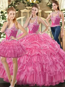 Hot Pink Lace Up Straps Beading and Ruffles and Pick Ups Ball Gown Prom Dress Tulle Sleeveless