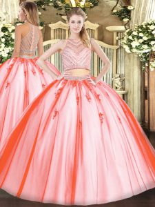 Excellent Watermelon Red Tulle Zipper Sweet 16 Quinceanera Dress Sleeveless Floor Length Beading
