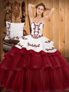 Strapless Sleeveless Sweep Train Lace Up 15th Birthday Dress Burgundy Tulle