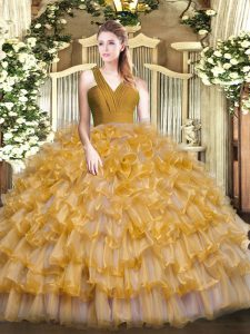 Floor Length Brown Quinceanera Dress Organza Sleeveless Ruffled Layers