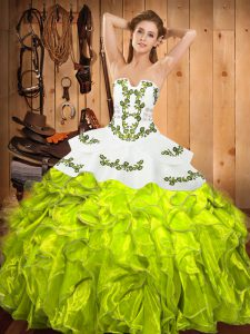 Beauteous Embroidery and Ruffles 15th Birthday Dress Yellow Green Lace Up Sleeveless Floor Length