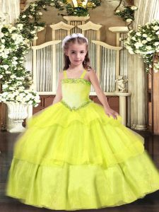 Perfect Straps Sleeveless Child Pageant Dress Floor Length Appliques and Ruffled Layers Yellow Organza