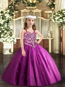 Fuchsia Tulle Lace Up Pageant Dresses Sleeveless Floor Length Beading and Appliques