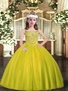 Affordable Straps Sleeveless Little Girls Pageant Dress Floor Length Beading Yellow Green Tulle