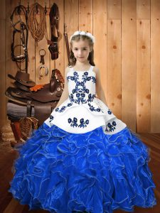 Blue Organza Lace Up Straps Sleeveless Floor Length Girls Pageant Dresses Embroidery and Ruffles
