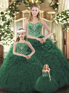 Dark Green Sleeveless Ruffles Floor Length Sweet 16 Dresses