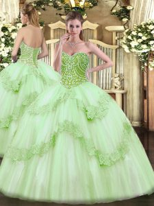 Dynamic Floor Length Apple Green 15th Birthday Dress Tulle Sleeveless Beading and Appliques