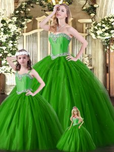 Green Lace Up Sweet 16 Quinceanera Dress Beading Sleeveless Floor Length