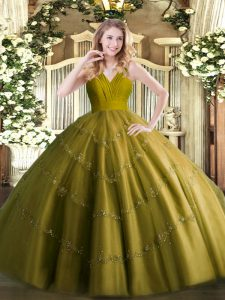 Delicate Tulle Sleeveless Floor Length 15 Quinceanera Dress and Beading