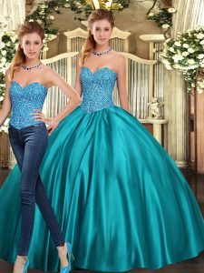 Delicate Floor Length Two Pieces Sleeveless Teal Ball Gown Prom Dress Lace Up