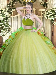 Traditional Olive Green Tulle Backless Sweet 16 Dresses Sleeveless Floor Length Beading and Ruffles