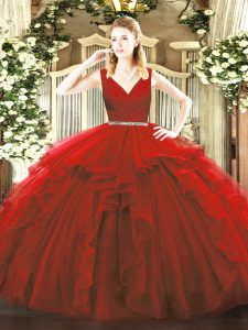 Glorious Wine Red Ball Gowns V-neck Sleeveless Tulle Floor Length Zipper Beading and Ruffles Sweet 16 Quinceanera Dress