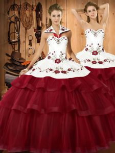 Luxury Wine Red Organza Lace Up Halter Top Sleeveless Sweet 16 Quinceanera Dress Sweep Train Embroidery and Ruffled Layers