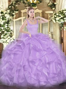 Enchanting Lavender Straps Neckline Beading and Ruffles Quinceanera Dress Sleeveless Zipper