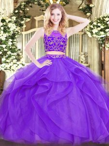 Clearance Lavender Vestidos de Quinceanera Military Ball and Sweet 16 and Quinceanera with Beading and Ruffles Scoop Sleeveless Zipper