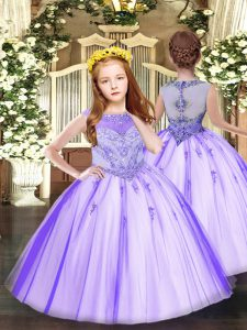 Sleeveless Floor Length Beading and Appliques Zipper Pageant Dress Wholesale with Lavender